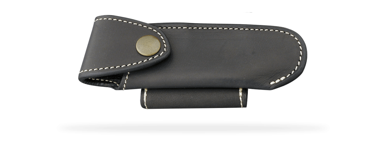 Traditional High-end leather belt sheath, black, for Le Pocket 10.5 cm knife. Horizontal & Vertical wearing.