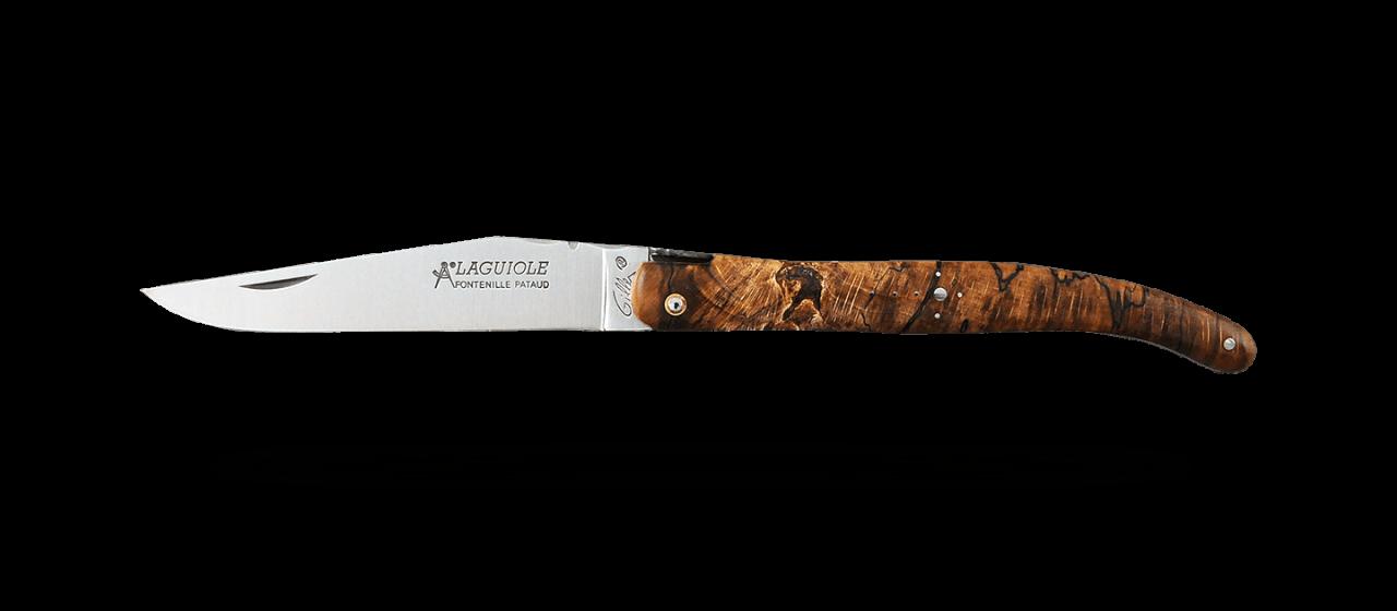 Laguiole Traditionnel 12 cm Classique Plein manche Hêtre stabilisé debout
