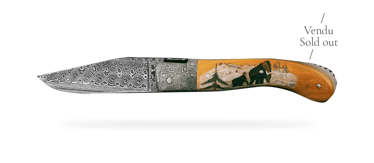 Laguiole Sport Damascus Range Brown Fossilized Mammoth, Delicate file work, Scrimshaw