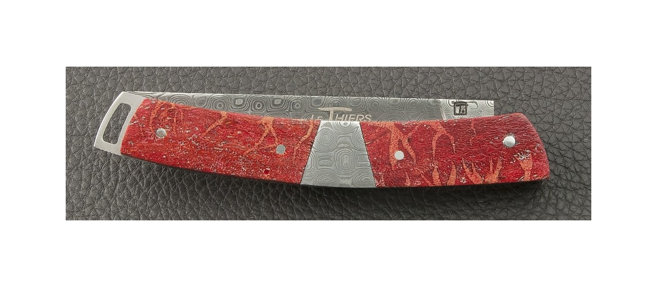 Le Thiers® Nature Damascus Central bolster Red coral knife