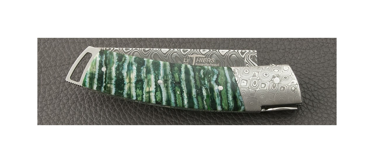 Knife Le Thiers® Gentleman Damascus Molar tooth of mammoth, Delicate filework