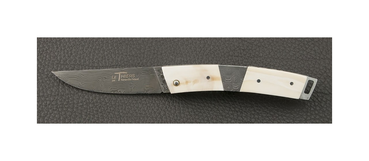 Le Thiers® Pocket Damascus Warthog knife and central bolster handmade in France