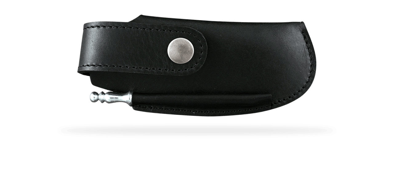 Leather belt sheath & sharpener, black, for Le Thiers® Gentleman, Capuchadou 12 cm, Sperone....