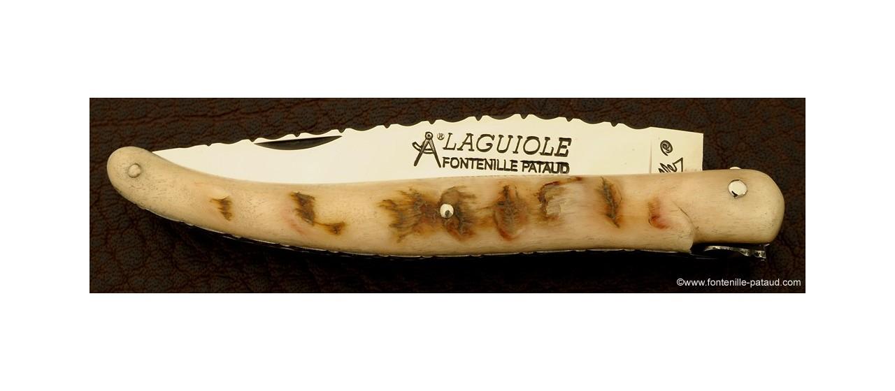Laguiole ciselé en corne de bélier traditionnelle