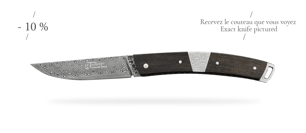 Le Thiers® Nature Damascus Central bolster Real ebony wood
