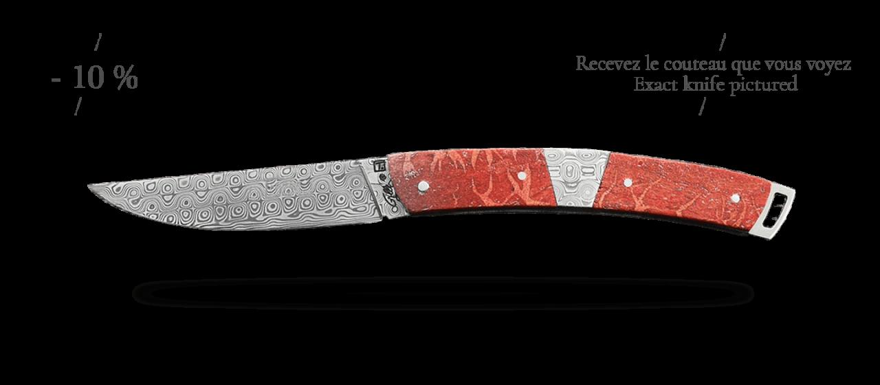 Le Thiers® Nature Damas Mitre centrale Corail rouge, guillochage fin