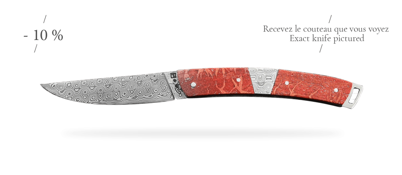 Le Thiers® Nature Damascus Central bolster Red coral, delicate filework