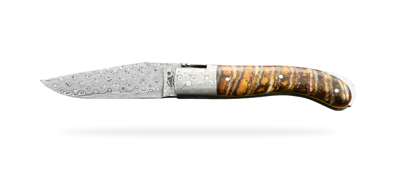 Laguiole Sport Damascus Range Brown Molar Tooth of Mammoth