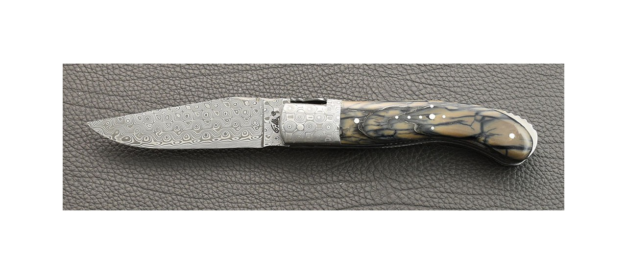 Laguiole Knife Sport Damascus Range Mammoth pulp and Delicate file work