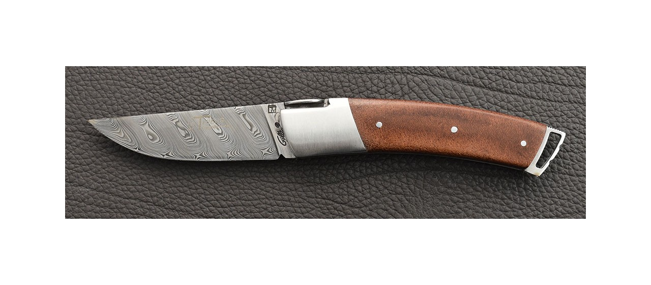Le Thiers ® Gentleman knife Damascus Stabilized leather