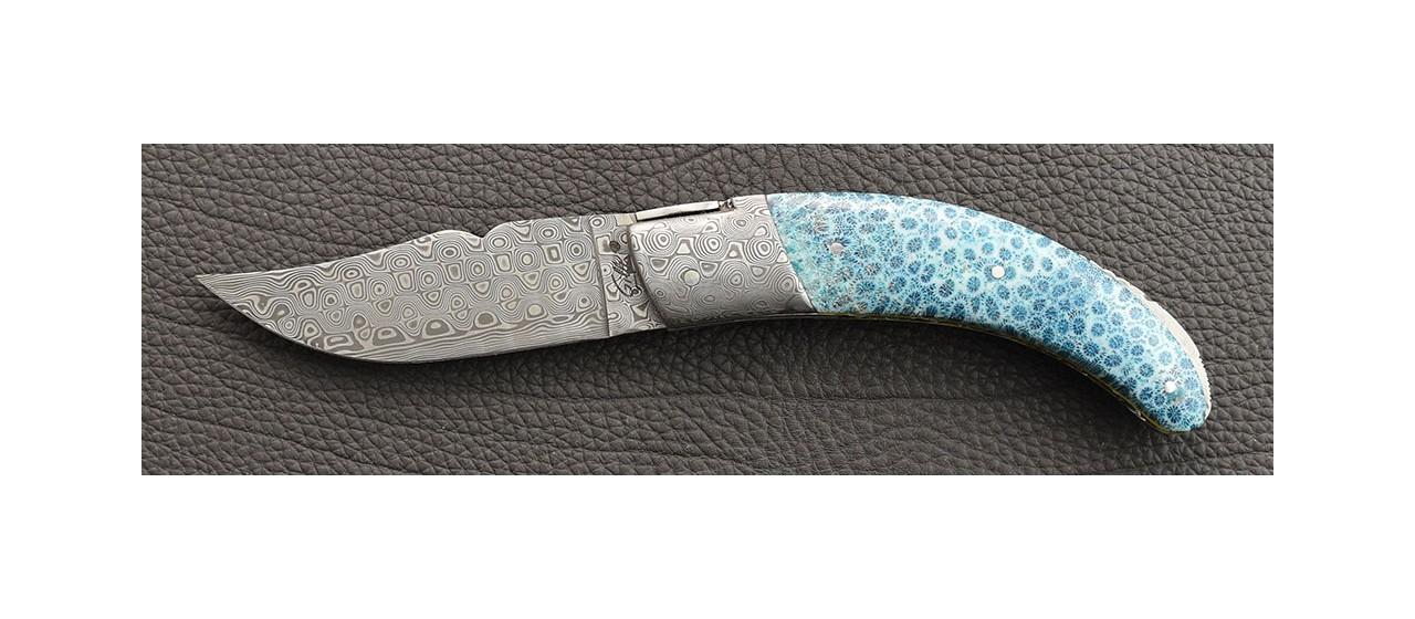 Corsican Rondinara knife damascus range blue coral delicate filework