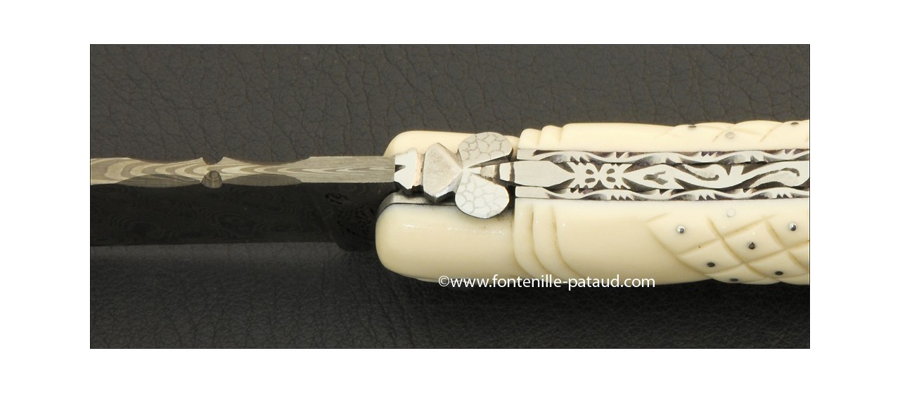 Collectors laguiole knife White Mammoth ivory and delicate carved