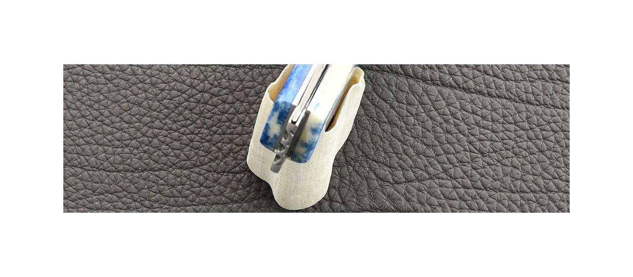 Le Thiers® Nature knife Damascus real blue Giraffe bone handle