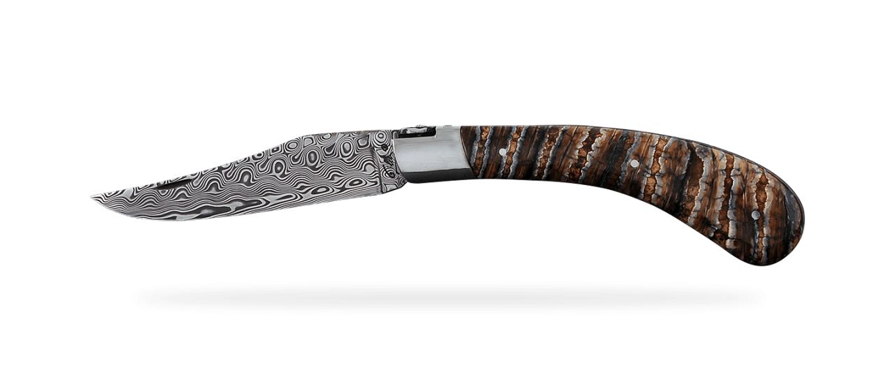 """Le Capuchadou®"" 12 cm hand made knife, Molar tooth of mammoth & Damascus"