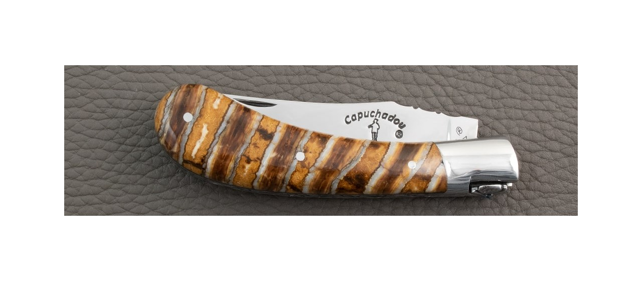 """""""Le Capuchadou-Guilloché"""" 10 cm hand made knife, Molar tooth of mammoth"""