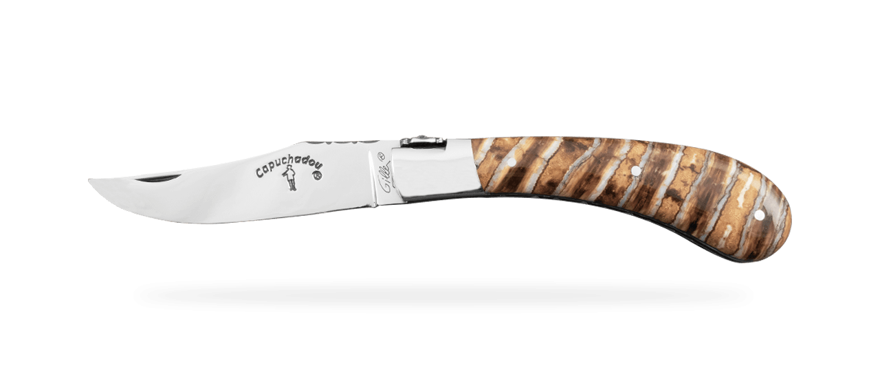 """Le Capuchadou®-Guilloché"" 10 cm hand made knife, Molar tooth of mammoth"