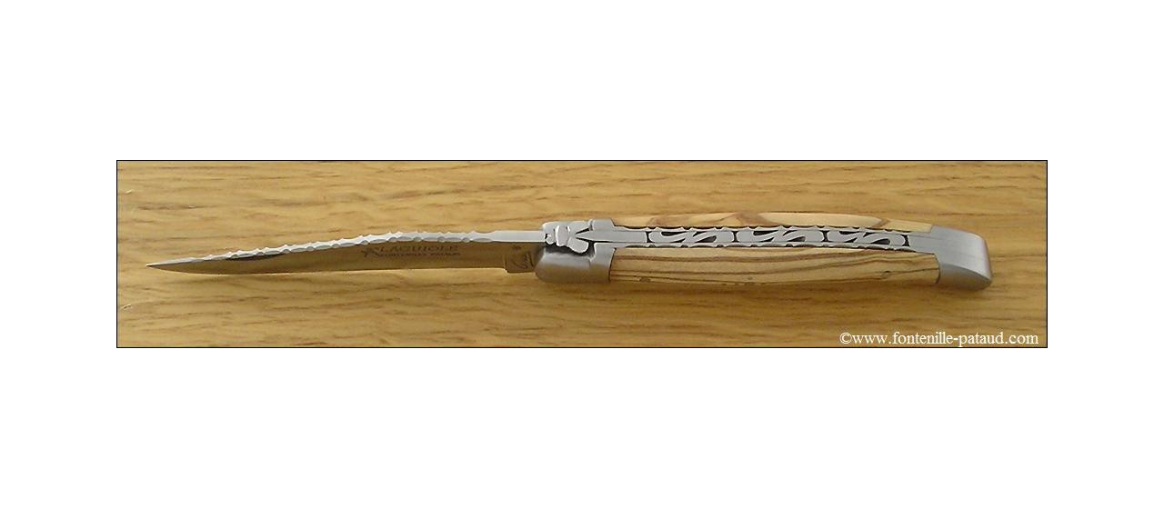 Couteau Laguiole Traditionnel 11 cm Guilloche Olivier