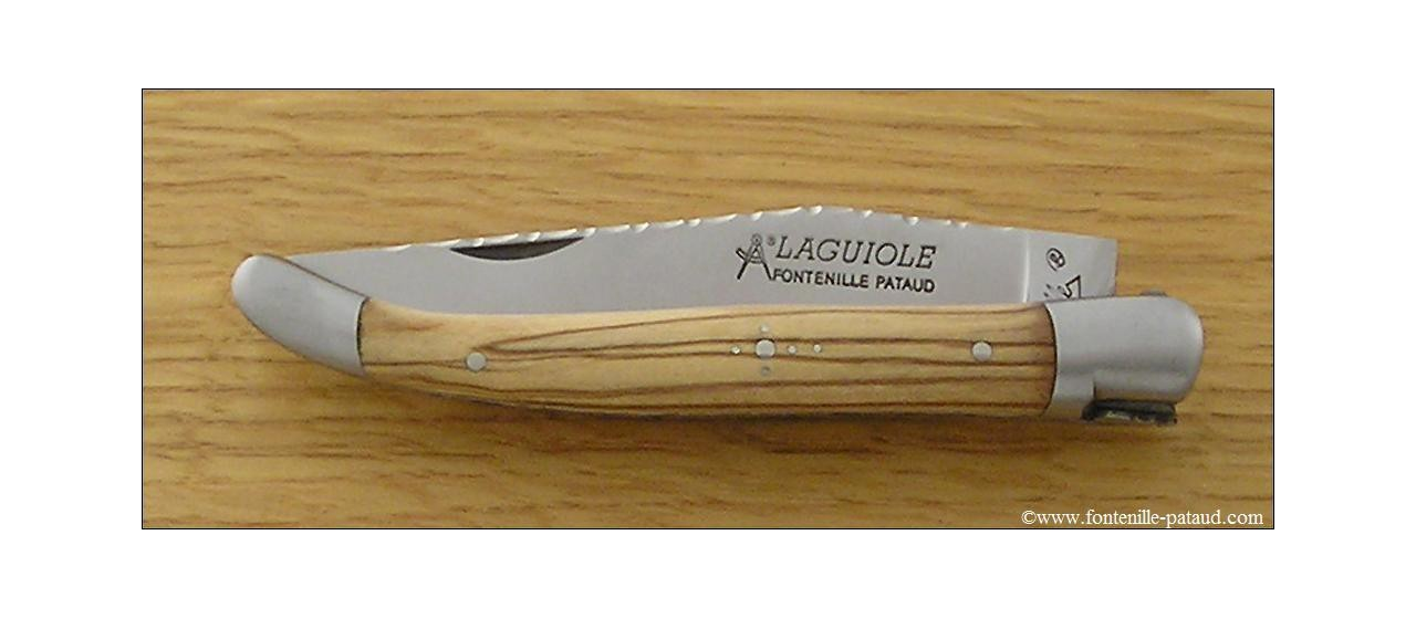 Laguiole Knife Traditional 11 cm Guilloche Range Olivewood
