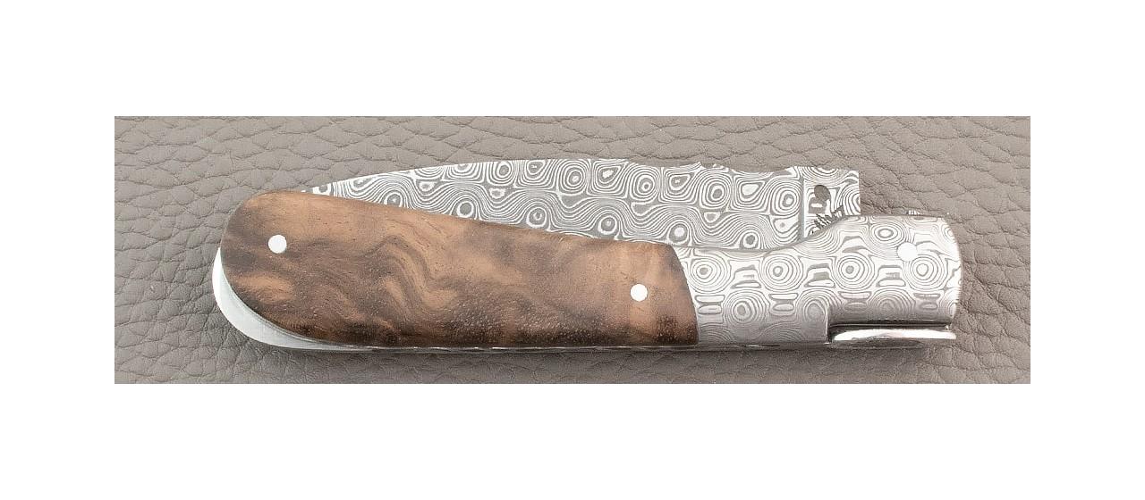 Couteau Pialincu Corse Damas Noyer