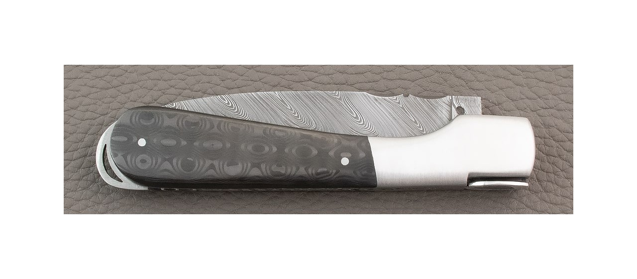 Corsican knife damascus blade and Fat Carbon Black Drop handle