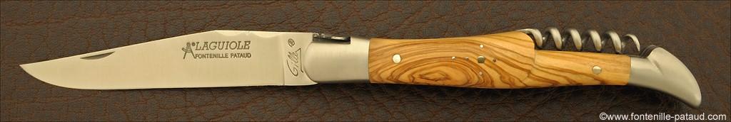 Couteau Laguiole Traditionnel 12 cm Classique avec Tire-Bouchon Olivier