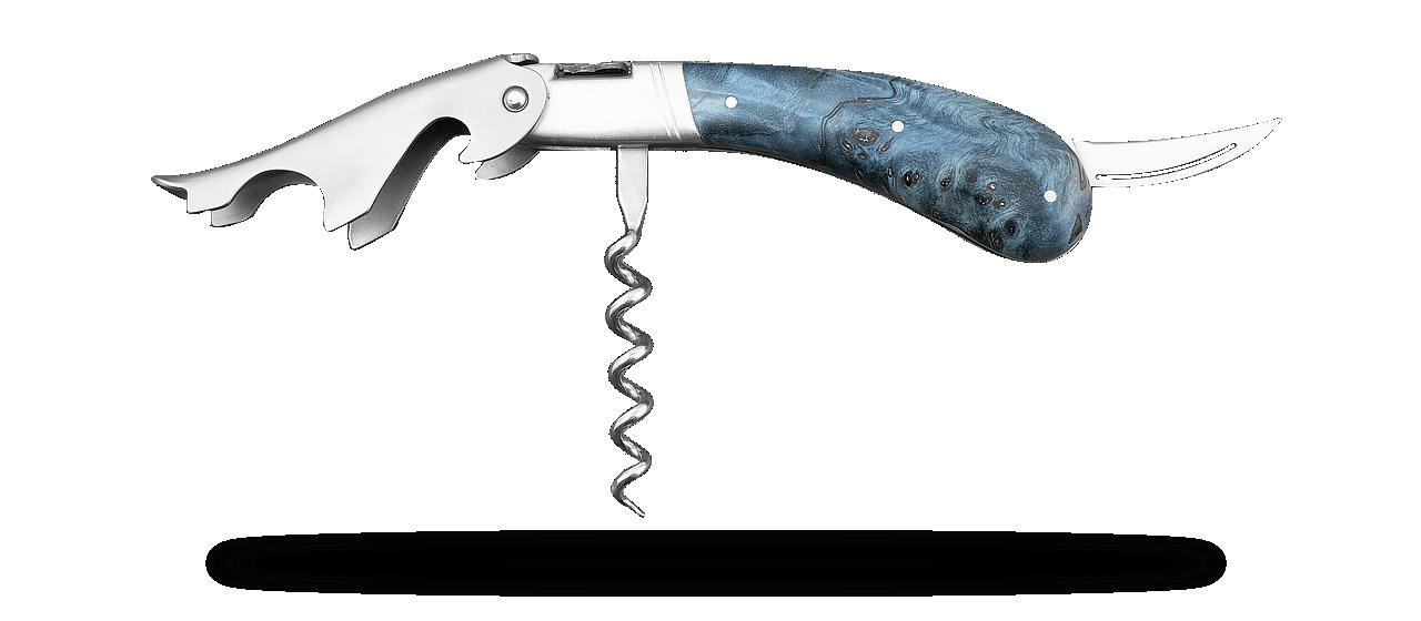 Laguiole Magnum corkscrew Blue poplar burl