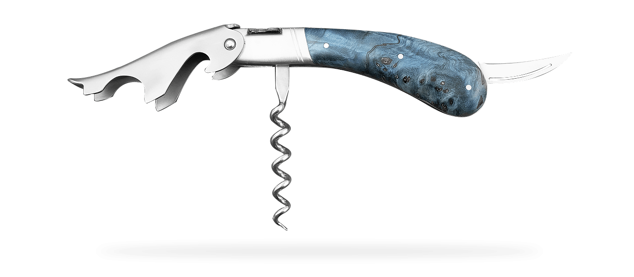 Laguiole Magnum corkscrew Blue Stained poplar burl