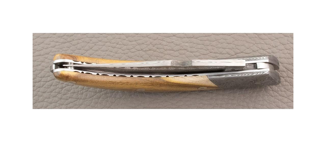 "Corsican Rondinara ""Guilloché"" Damascus Range Pistachio Wood knife made in France"