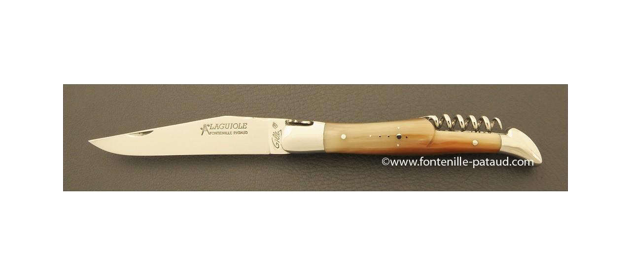 Couteau Laguiole Traditionnel 12 cm Classique avec Tire-Bouchon Pointe de corne