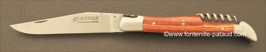 Couteau Laguiole Traditionnel 12 cm Classique avec Tire-Bouchon Bois de rose