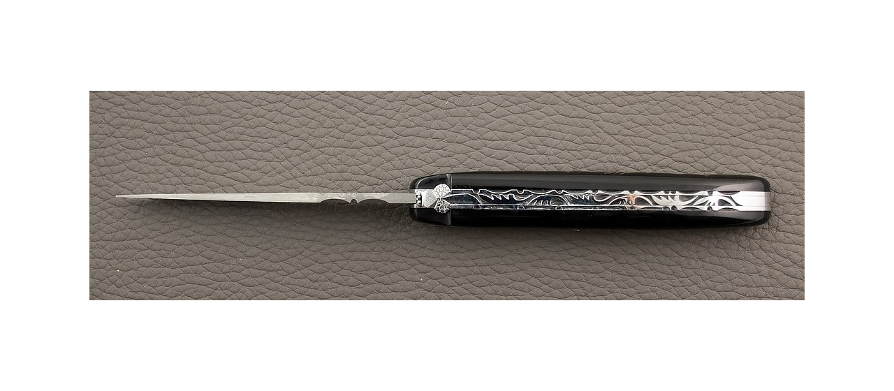Laguiole Knife Traditional 11 cm Damascus range full handle Buffalo Bark