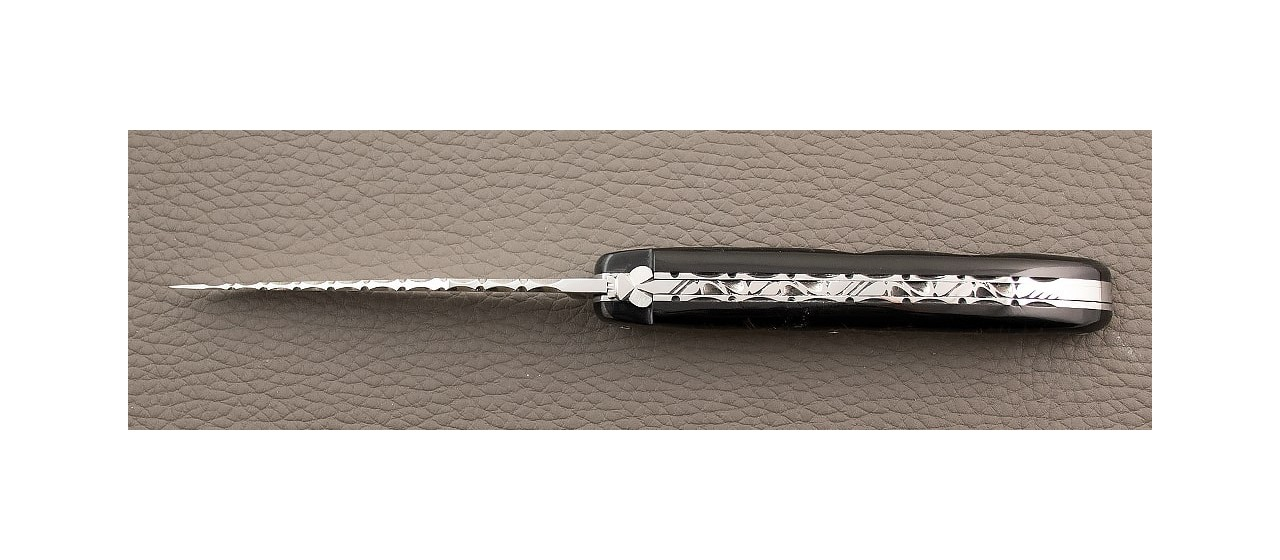 Laguiole Knife Traditional 11 cm Guilloche Range Full Handle Buffalo bark