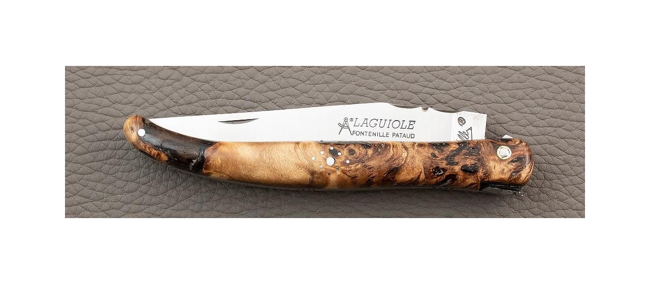 handmade in France laguiole knife old school Stabilized poplar burl