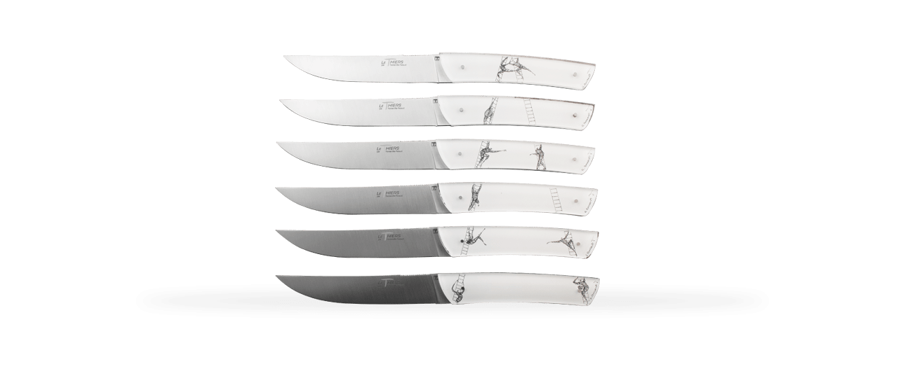 "Set of 6 Le Thiers® knives ""Les écheliers"" by Roland Bousquet"
