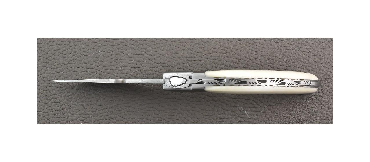 Corsican Rondinara knife damascus range real horn made in France