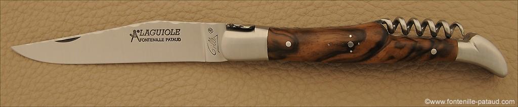 Laguiole Traditionnel 12 cm Guilloché avec Tire-Bouchon Noyer