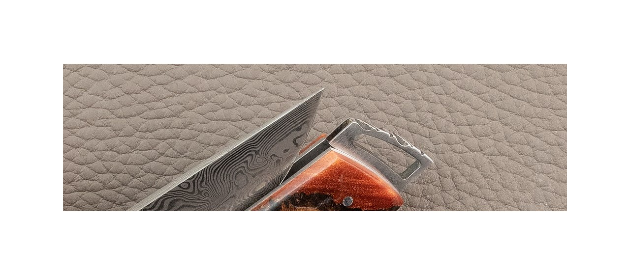 Le Thiers ® Gentleman knife Damascus Hybrid Best Juniper burl from southern France