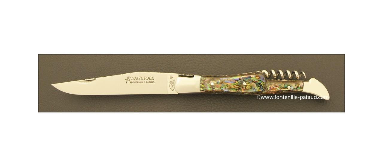 Couteau Laguiole Traditionnel 12 cm Guilloche avec Tire-Bouchon Nacre