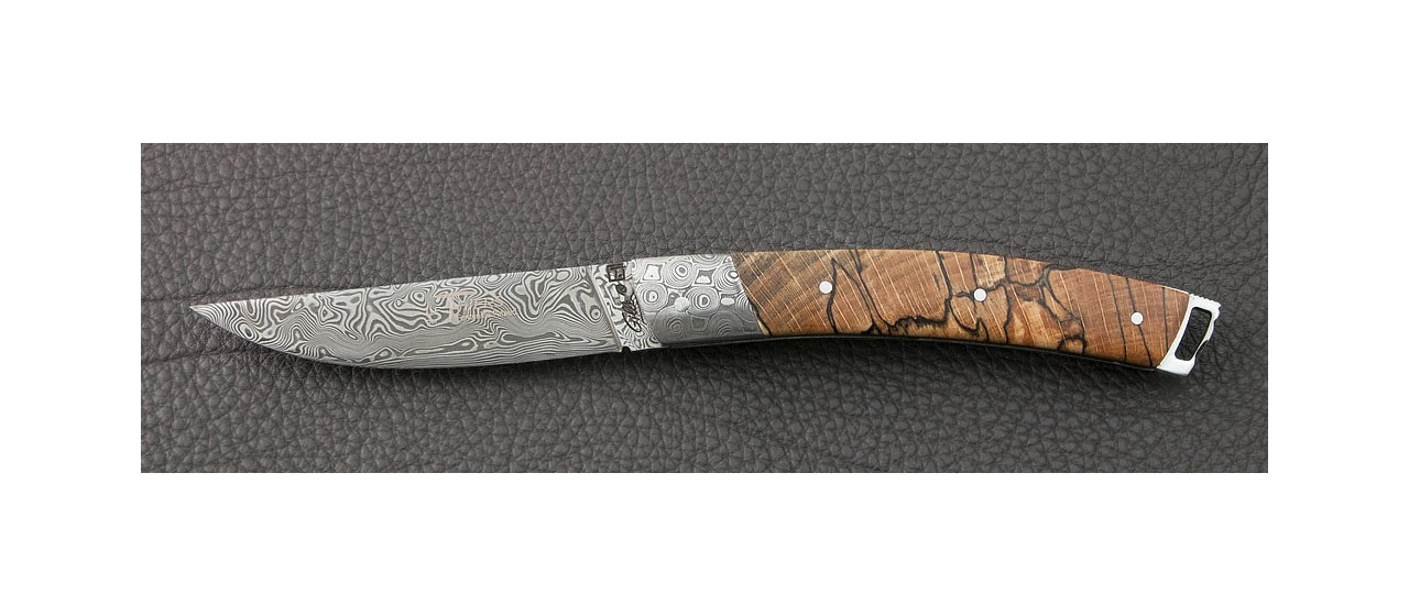 Le Thiers® Nature Damascus Stabilized beech knife handmade in France