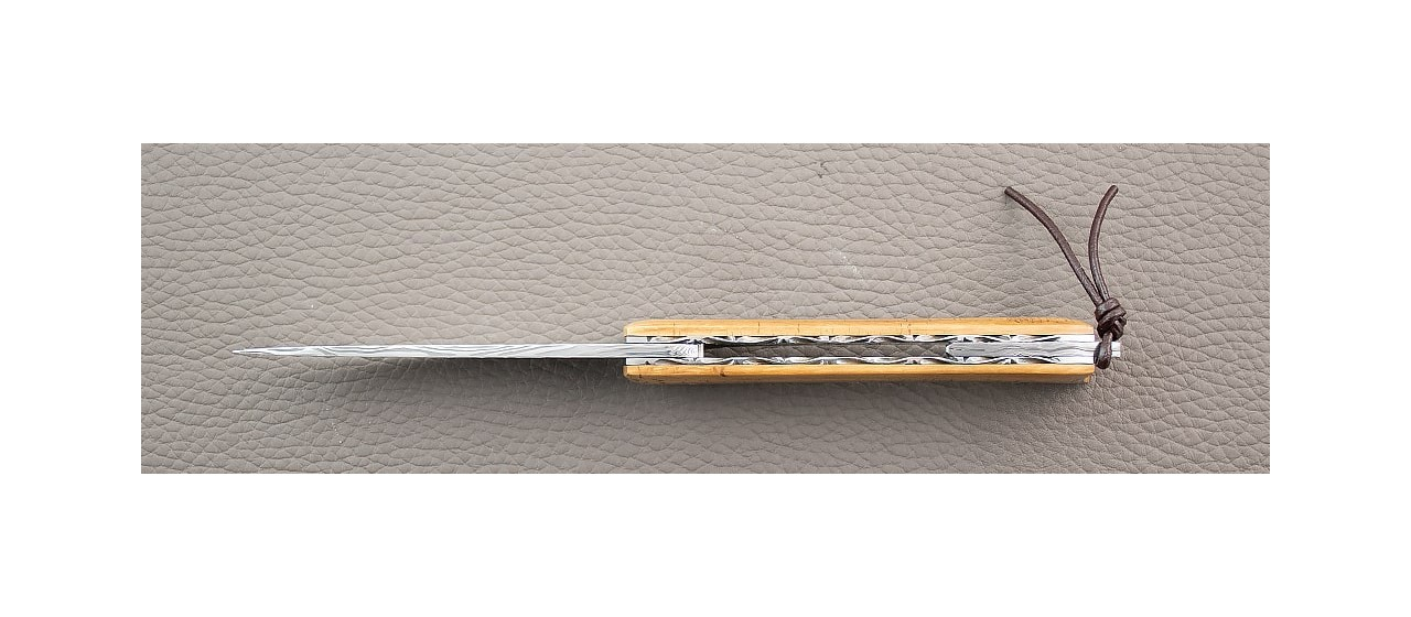 """The """"Légouto"""" Mammoth ivory and Damascus blade by Jérôme Symphorien"""