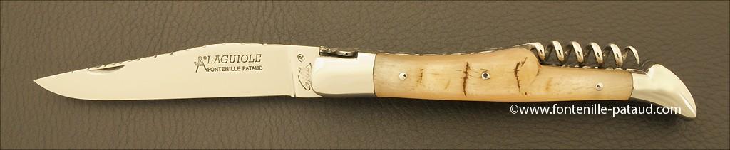 Couteau Laguiole Traditionnel 12 cm Guilloche avec Tire-Bouchon Belier