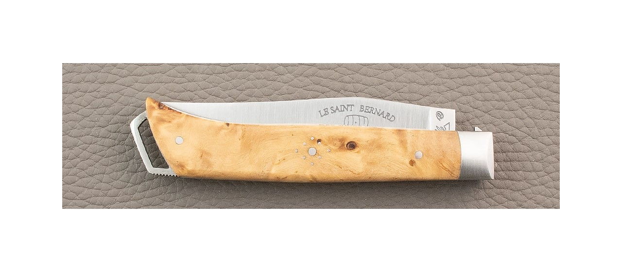 French Alpin knife Stabilized poplar burl handle handmade in France