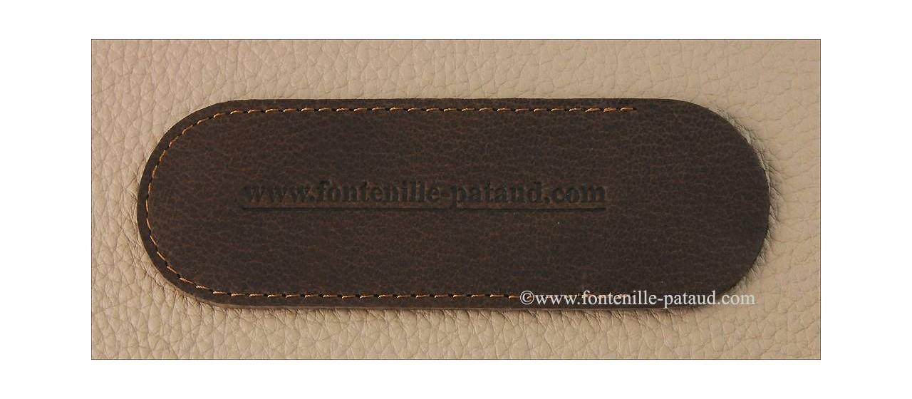 Couteau Le Thiers® Advance os de girafe rouge avec lame Damas fabriqué en France par Fontenille Pataud