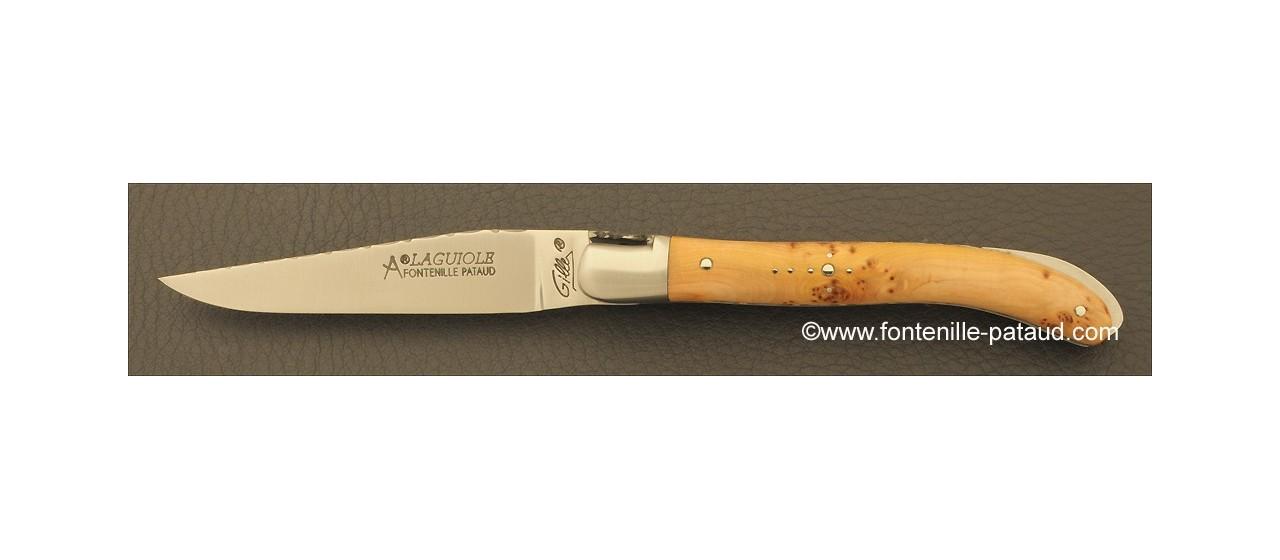 Laguiole Knife XS Guilloche Range Juniper Burl