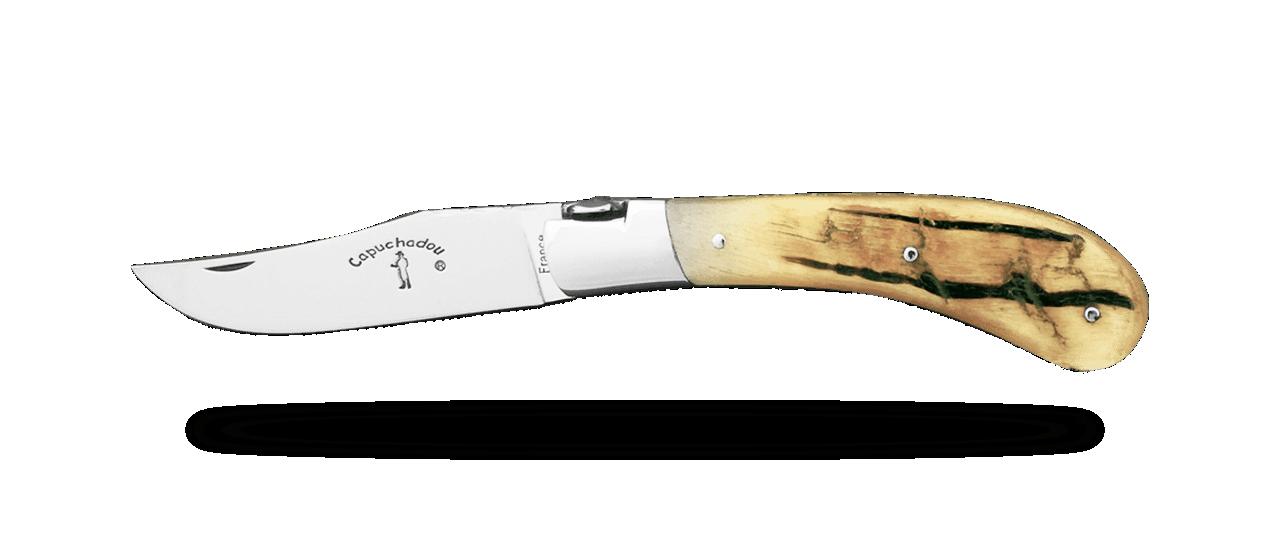 """Le Capuchadou®-Guilloché"" 10 cm hand made knife, Ram horn"