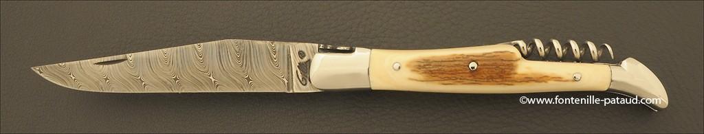 Couteau Laguiole Traditionnel 12 cm Damas avec Tire-Bouchon Mammouth fossile
