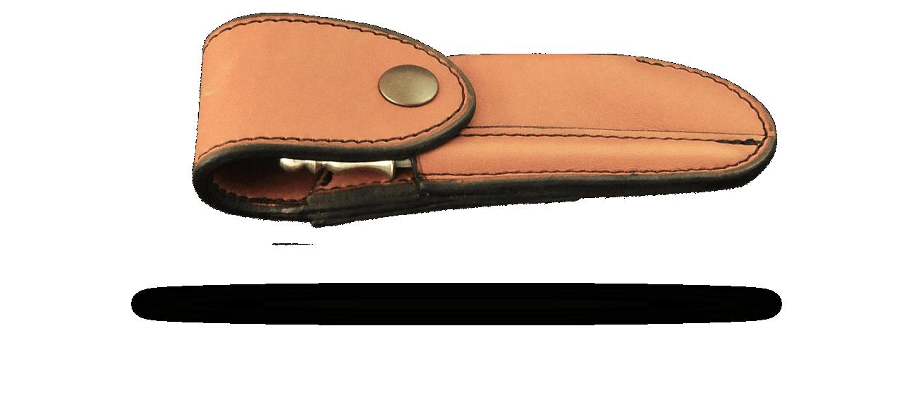 Etui de ceinture traditionnel en cuir doublé coloris fauve pour Laguiole Nature, Laguiole 12cm, Le Thiers ® Nature, 5 Coqs...