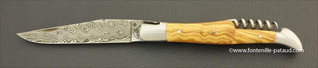 Laguiole Knife Picnic Damascus Range with Corkscrew Olivewood