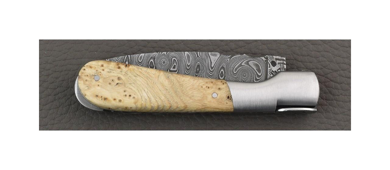 Corsican Pialincu knife Damascus range Ash burl