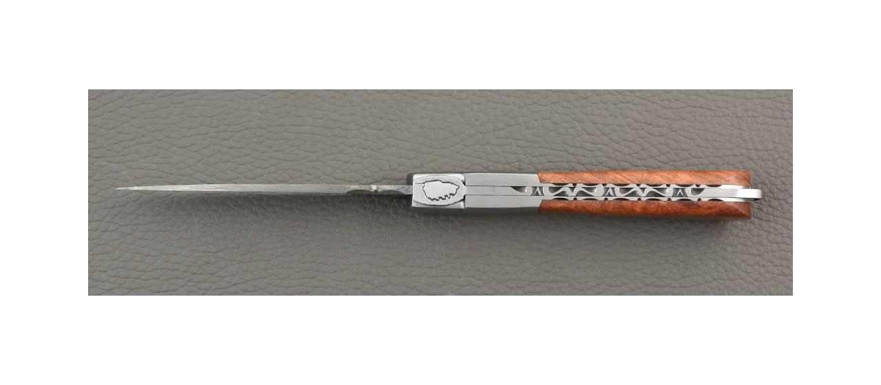 Handmade Corsican Sperone knife Damascus Range Amboyna burl